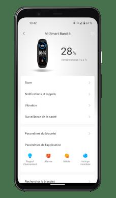 Xiaomi Mi Smart Band 6 - Mi Fit App - Paramètres (1)