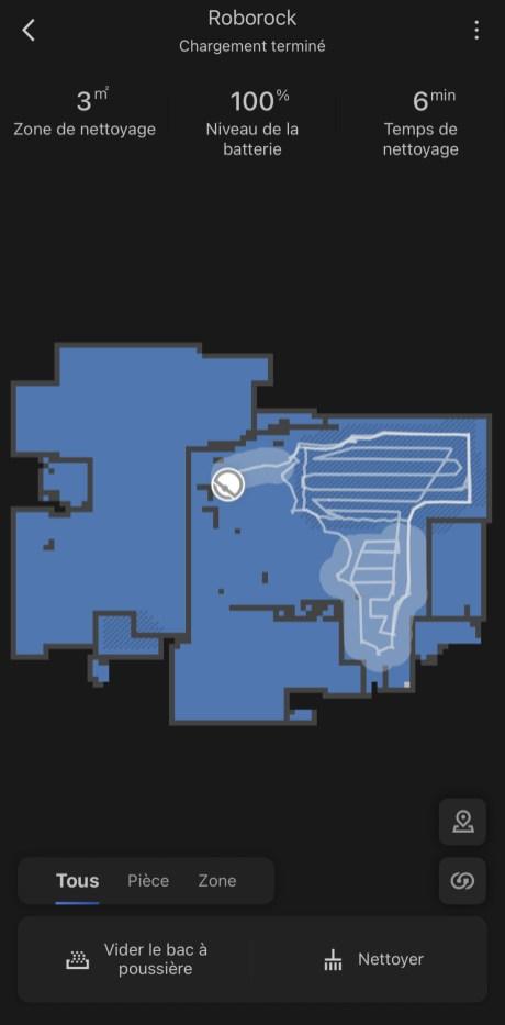 La carte qui s'affiche pour le Roborock S7 // Source : Frandroid
