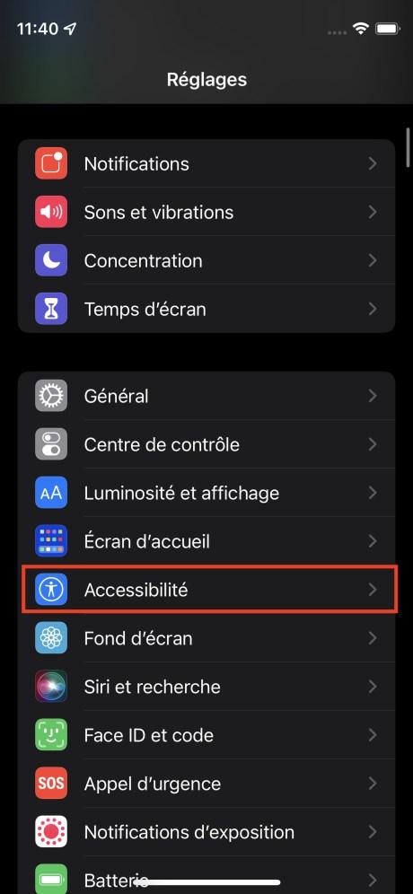 Le menu Réglages d'iOS 15 // Source : FRANDROID