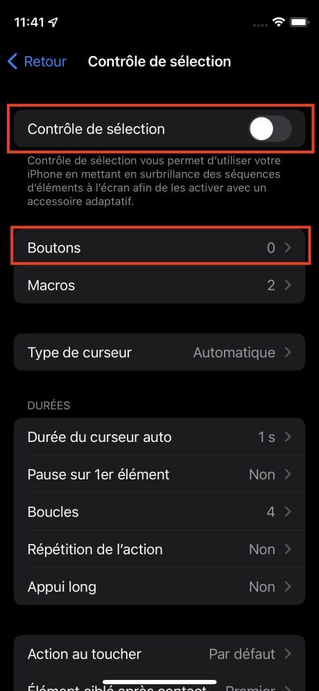 Le menu Contrôle de sélection de l'iPhone // Source : FRANDROID