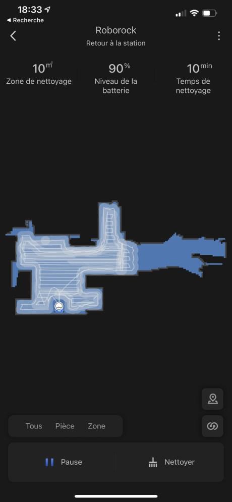 Le trajet du Roborock S7 durant son nettoyage // Source : Frandroid