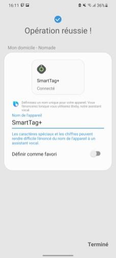 Une fois connecté, on peut donner le nom qu'on souhaite à son SmartTag.