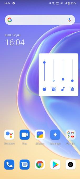 L'interface du réglages du son