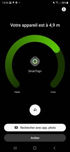 Si le SmartTag+ est assez près, la fonction AR est activable. // Source : Frandroid