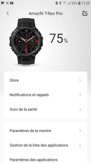 Page d'accueil du menu consacré à la montre dans Zepp