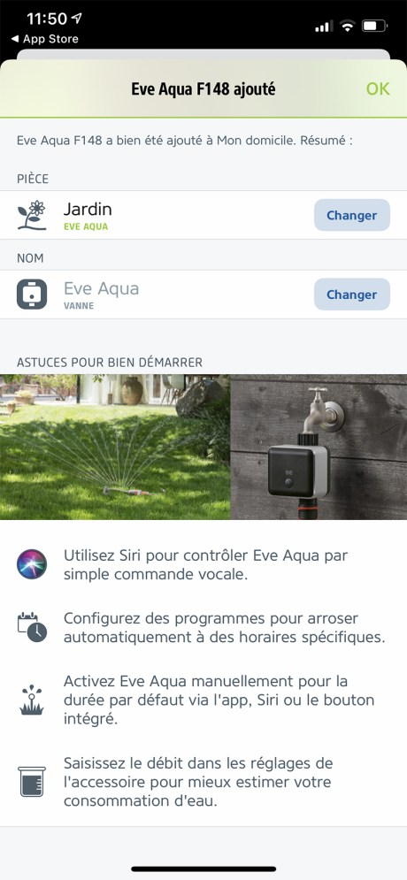 L'app Eve Aqua s'intègre à Home Kit // Source : Frandroid - Yazid Amer