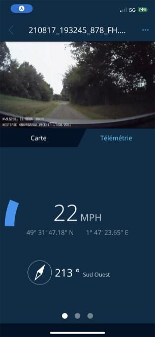 L'app offre un affichage caméra avec une télémétrie conduite // Source : Frandroid - Yazid Amer