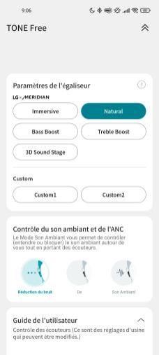 Les profils d'égalisation développés par Meridian sont à activer dans l'app des écouteurs LG Tone Free FP8.