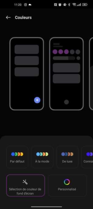 ColorOS adopte les couleurs du fond d'écran 1/3