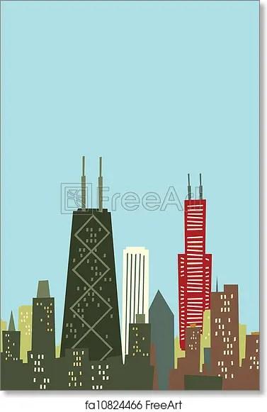 c cartoon chicago skyline art print