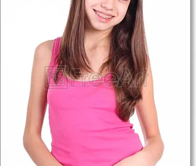 Free Art Print Of Beautiful Young Teen Girl With Brackets On Teeth In White