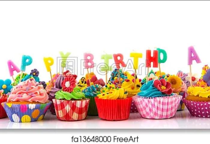 Free Art Print Of Happy Birthday Cupcakes Colorful Happy Birthday
