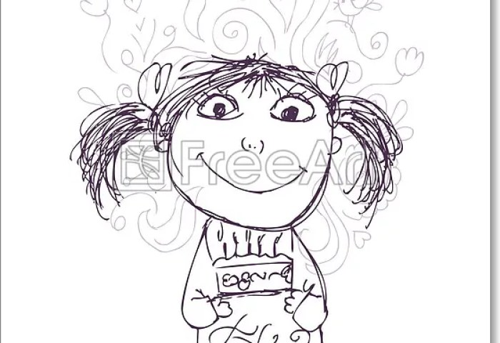 Free Art Print Of Funny Girl Sketch With Birthday Cake For Your