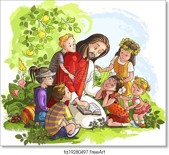 Free Art Print Of Jesus Reading Bible With Children Vector Illustration For Jesus Reading The Bible With Children Freeart Fa19280497