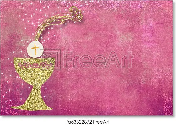 free art print of first holy communion invitation background