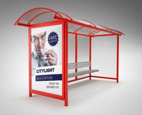Bus Station Citylight Advertising Mockup