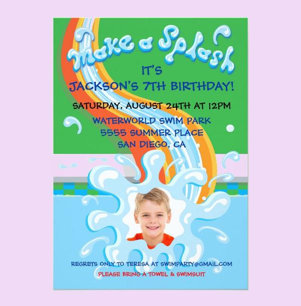 beautiful swimming party invitation