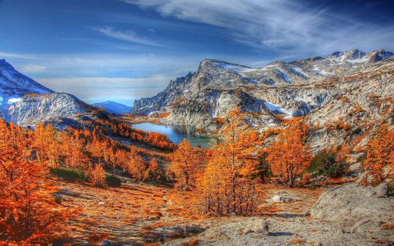 HD Amazing Mountain Lake In Autumn Hdr Wallpaper