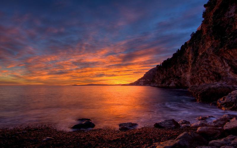 HD Beautiful Sunset On Seacoast Cliffs Wallpaper