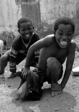 Free Children playing in an African village Stock Photo ...
