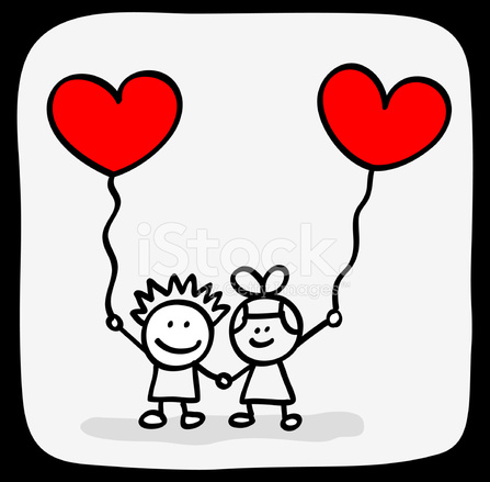 Valentines Day Kids Lovers Holding Hands Cartoon Stock