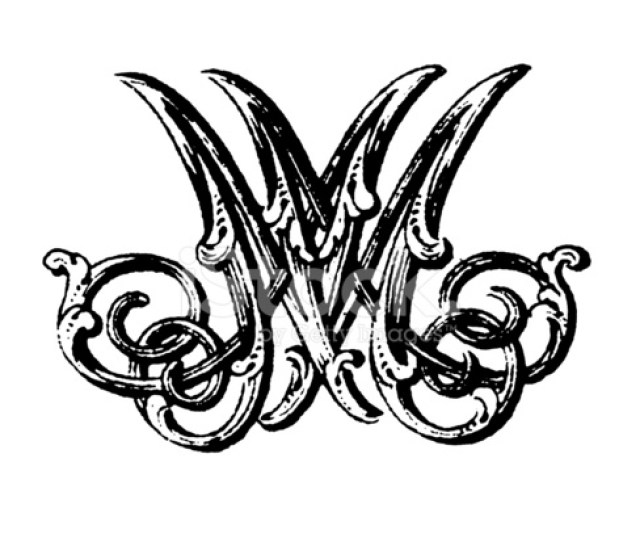 Ornamented Double Monogram Letters Mm