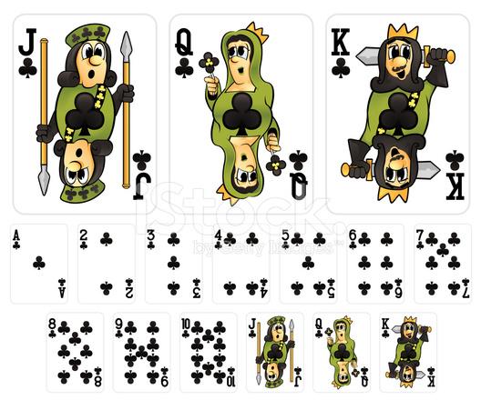 Cartoon Playing Cards Clubs Suit Stock Photos