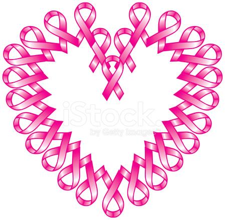 Pink Ribbon Heart Stock Vector