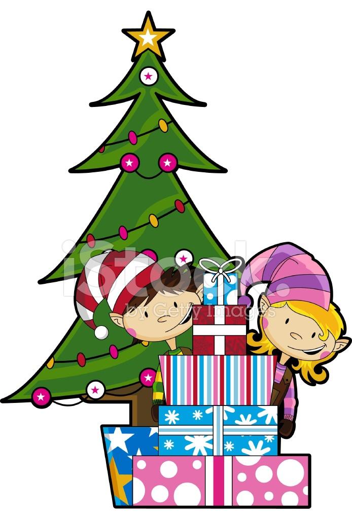 Elfi Con Albero Di Natale Amp Regali Stock Vector