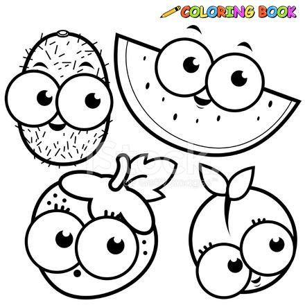 coloring book fruit cartoon set kiwi watermelon strawberry peach stock