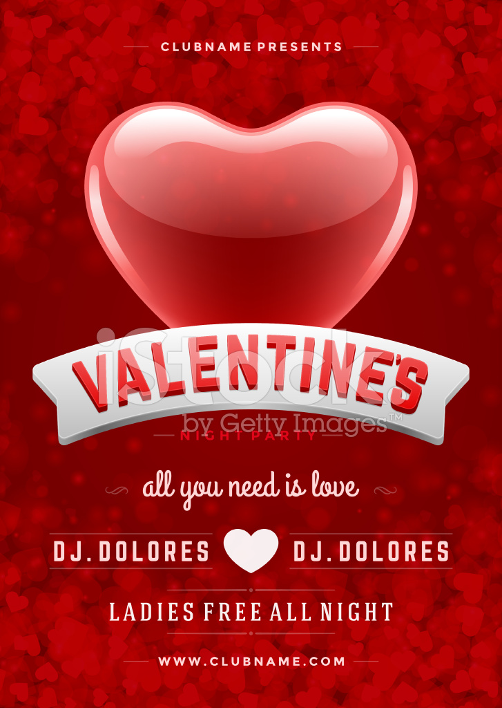 Happy Valentines Day Party Poster Design Template Stock