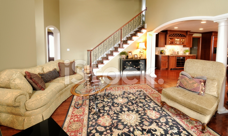 Home Interior Living Room Persian Rug Pillars Staircase Sp*C | Staircase Inside Living Room | Kitchen Stair | Apartment | Inside Lounge | Staircase Tv | Private Home