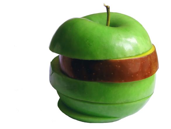 绿 + 红苹果
