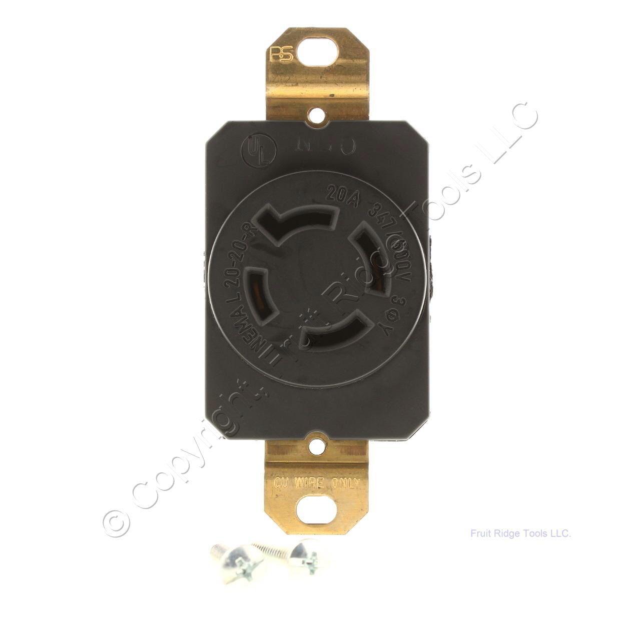 P Amp S Twist Turn Locking Receptacle Outlet Nema L20 20r 20a