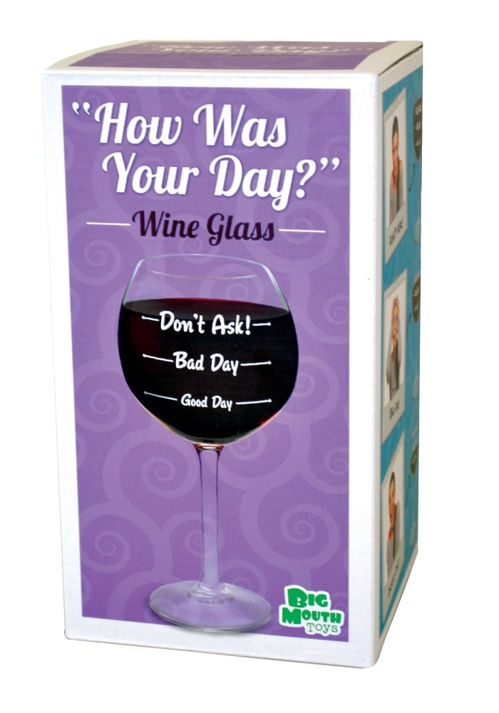 This handy wine glass has quick and easy instructions. First, ask yourself how your day went. Just match your answer to the appropriate mark on the glass and fill the glass with wine until it reaches that point. Then, consume the wine inside of glass. It's a great tool for those of us who just don't know how much wine is required at the end of the day!
