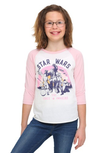 Star Wars Ep 7 Rebel Group Girls Pink Sleeve Raglan Shirt