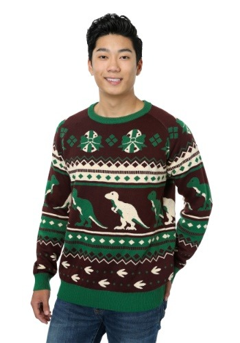 Holiday Dinosaur Ugly Christmas Sweater for Adults