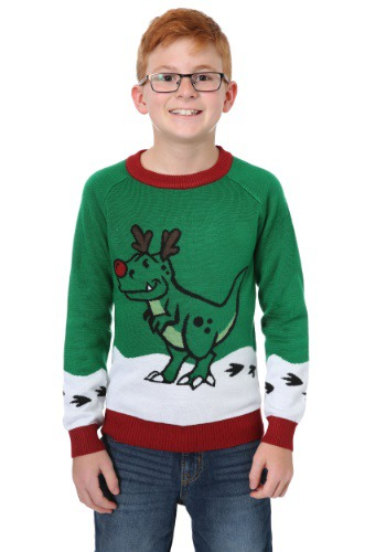 Reindeer Dinosaur Ugly Christmas Sweater for Boys