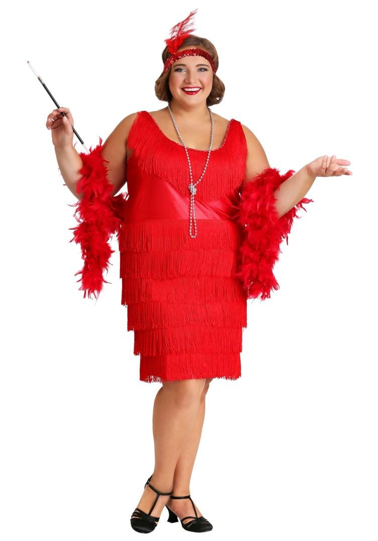 Women's Plus Size Red Flapper Dress