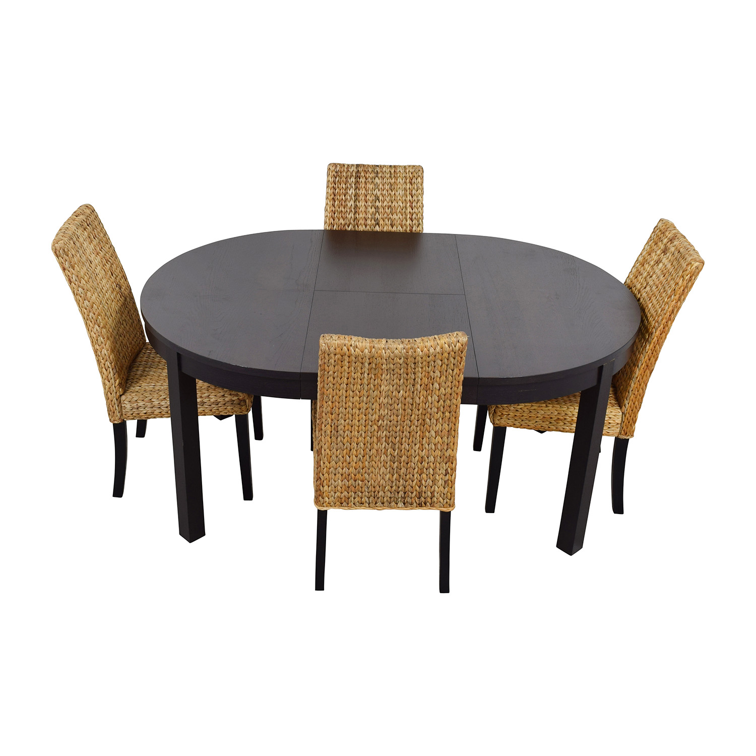66 OFF Macys Amp IKEA Round Black Dining Table Set With