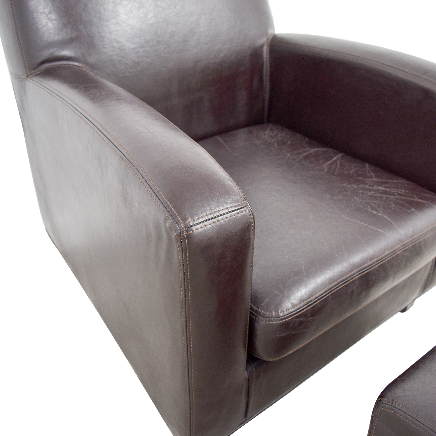 Brown Accent Chair Ottoman