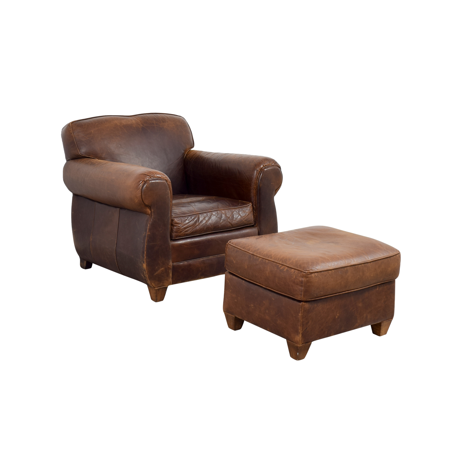 64 OFF Restoration Hardware Restoration Hardware 1940s Moustache Leather Chair And Ottoman