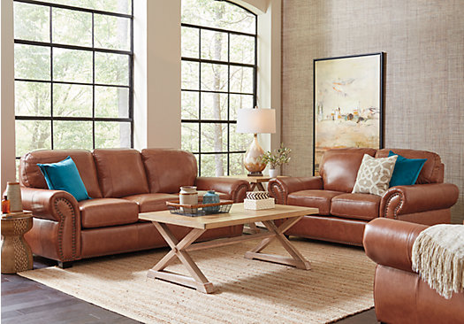 1 988 00 Balencia Light Brown Leather 5 Pc Living Room Part 51