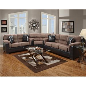 Fabric Faux Leather Sectional with Wedge   6200 by Affordable     Affordable Furniture 6200 Fabric Faux Leather Sectional with Wedge