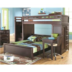 Canyon Ivy League Twin Twin Loft Bed With Stairway And Chest