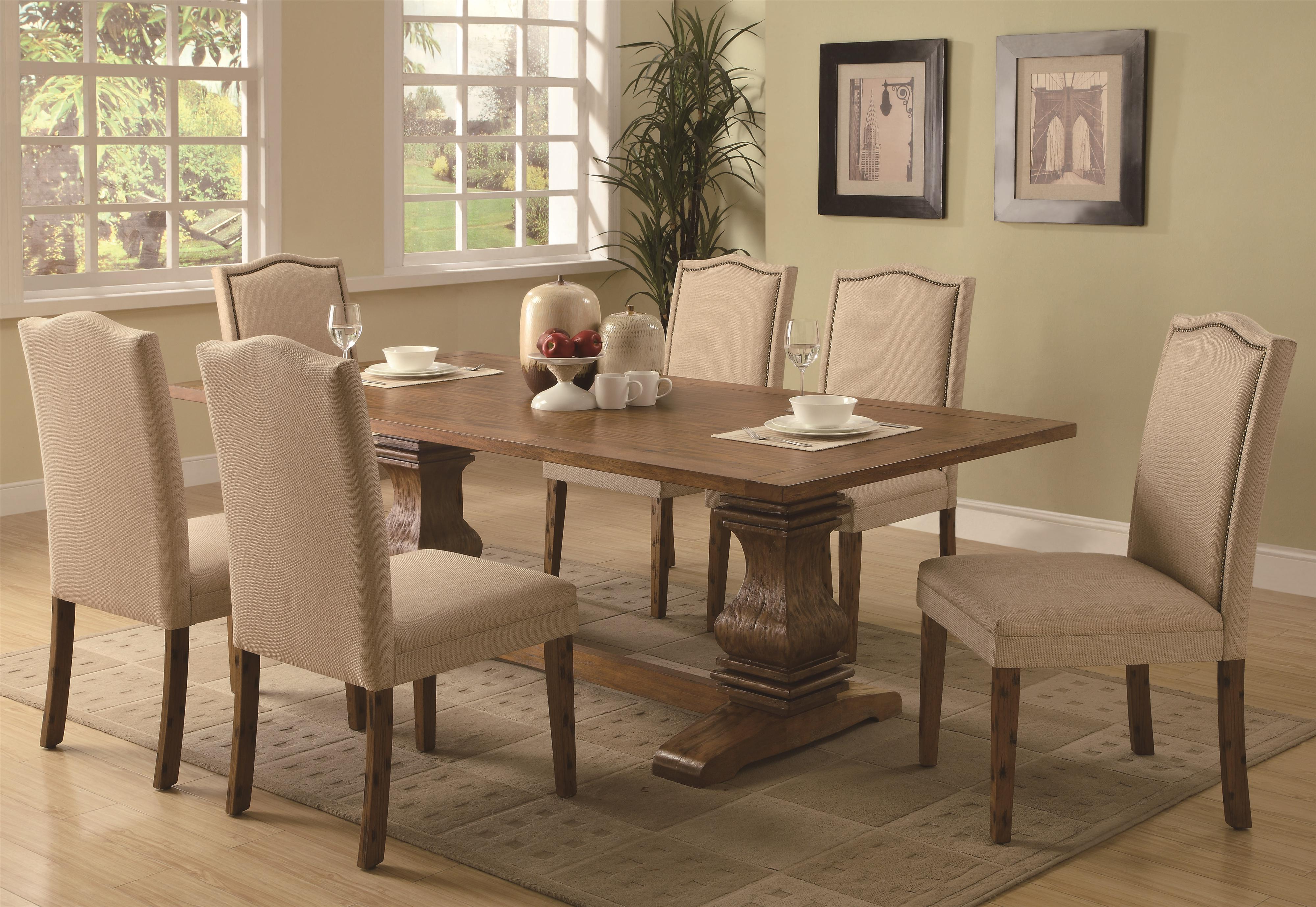 Coaster Parkins Dining Table with Shaped Double Pedestals   Coaster     Coaster Parkins Dining Table with Shaped Double Pedestals   Coaster Fine  Furniture