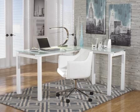 Image result for BARAGA L SHAPED HOME OFFICE DESK IN WHITE H410-24 SIGNATURE DESIGN BY ASHLEY