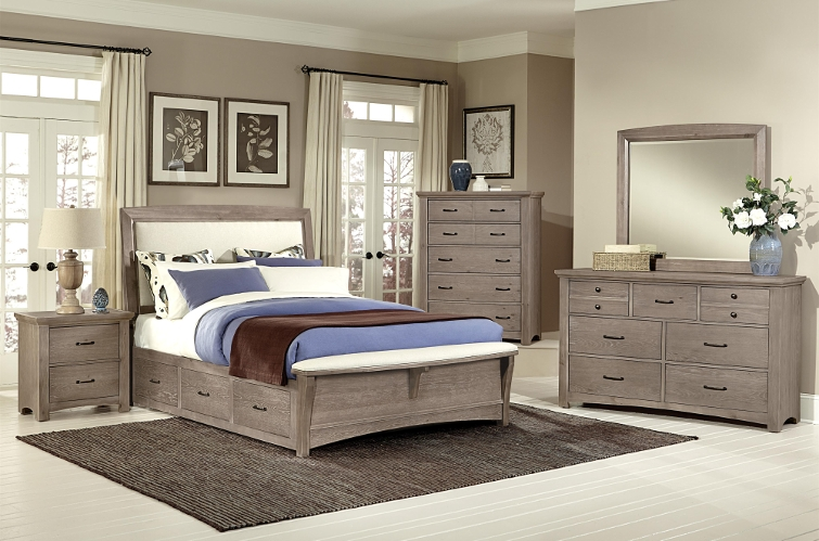 Bedroom Furniture   Suburban Furniture   Succasunna  Randolph     Vaughan Bassett Transitions Queen Upholstered Bed with 1 Side Storage