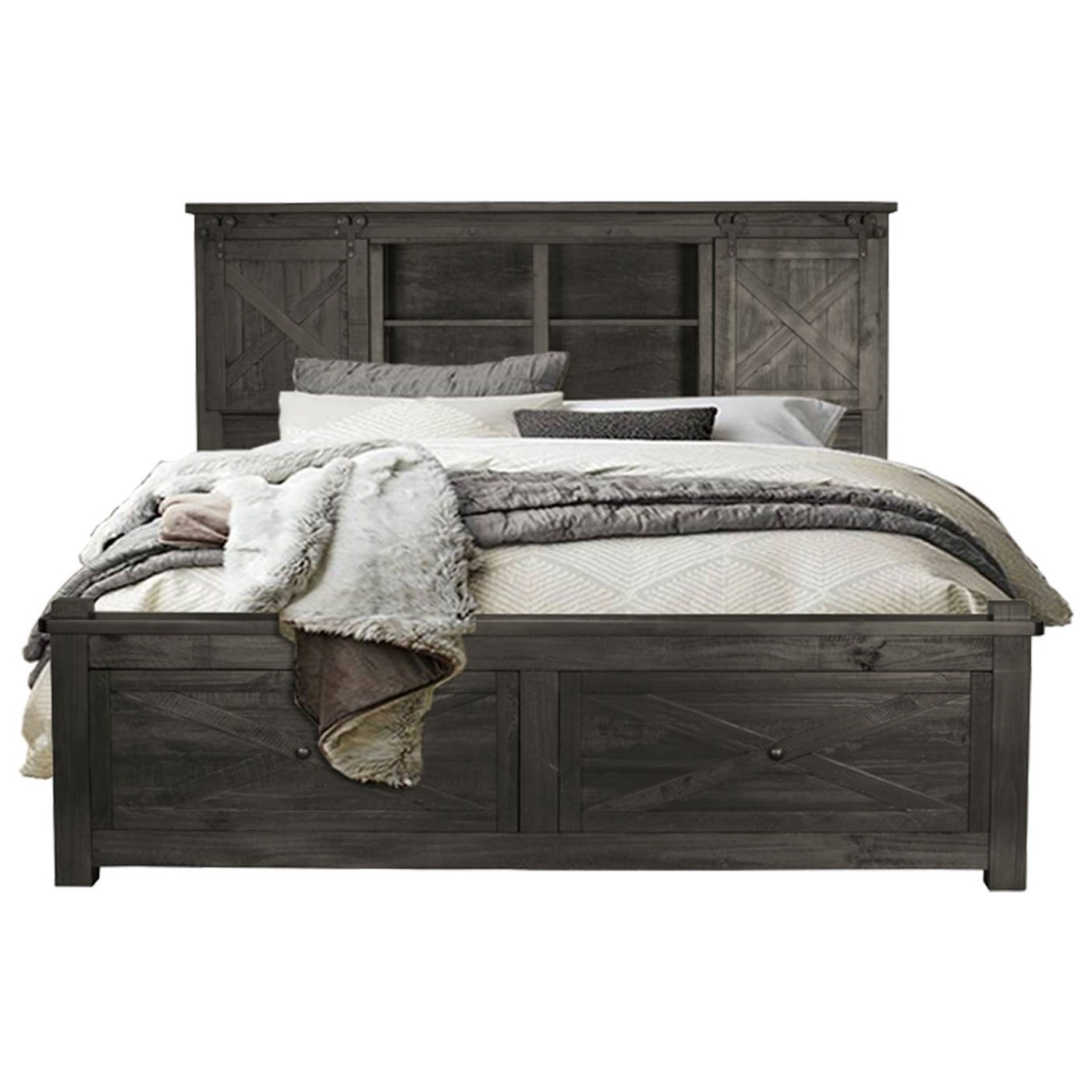 Aamerica Sun Valley Queen Bookcase Bed With Footboard Storage Zak S Home Panel Beds