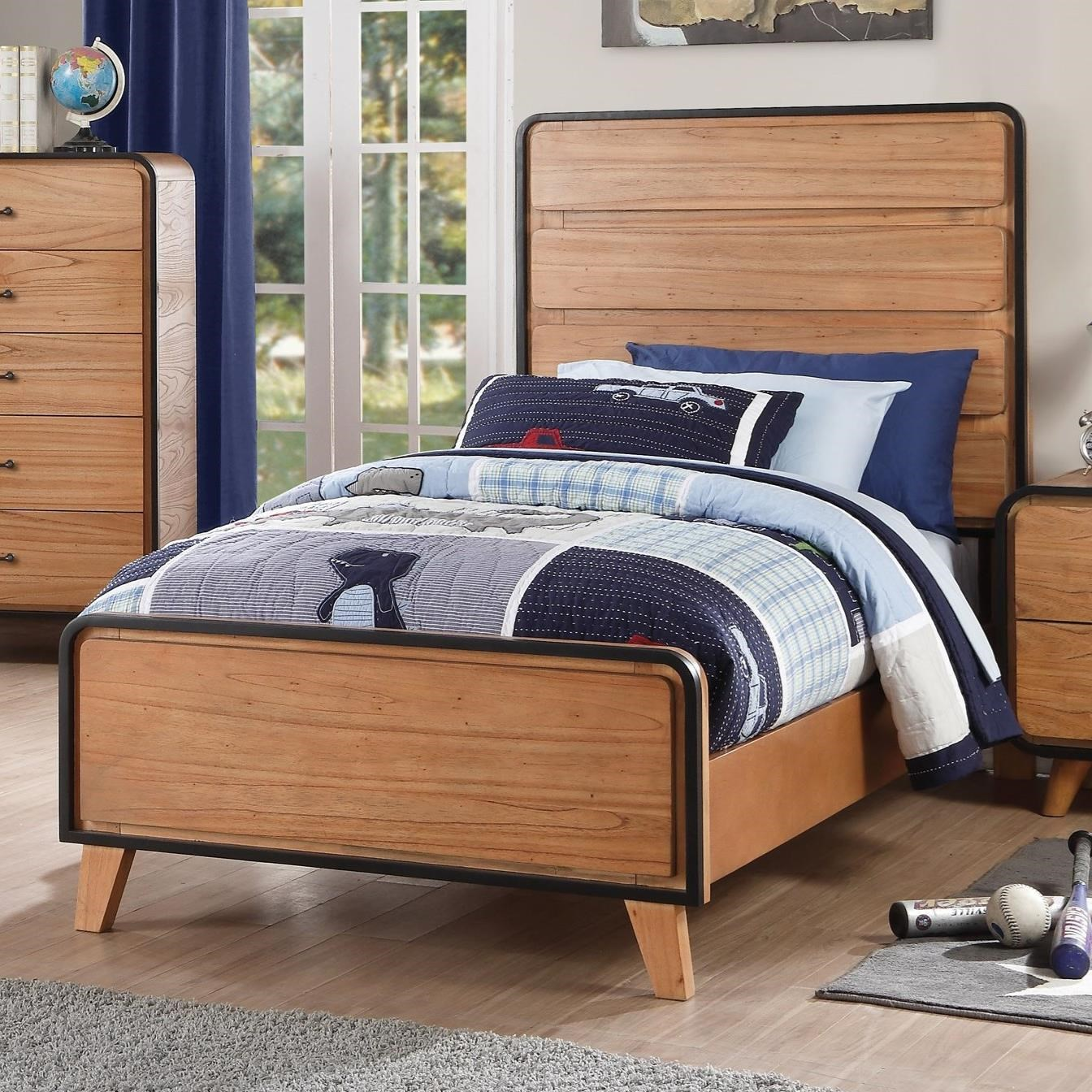 Acme Furniture Carla 30760t Mid Century Modern Twin Bed Del Sol Furniture Platform Beds Low Profile Beds